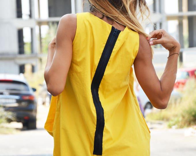 Maxi Yellow Tunic Dress, Plus Size Tunic Dress, Loose Zipper Tunic Top, Extravagant Little Dress, Everyday Casual Dress by SSDfashion