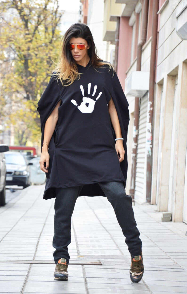 Sweatshirt With Hand Print Maxi Sport Hooded Black Extravagant Asymmetrical Top Warm Top by SSDfashion Cotton Hooded Tunic