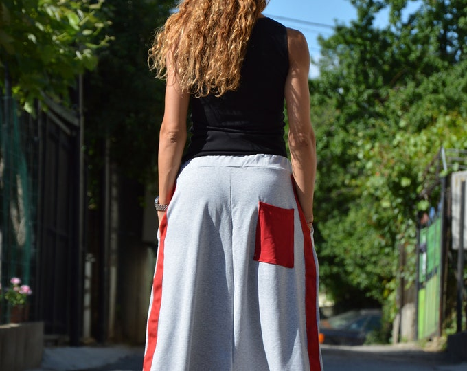 Gray Loose Pants, Maxi Drop Crotch Harem Pants, Extravagant Trousers with Red Tape, Oversize Pants by SSDfashion