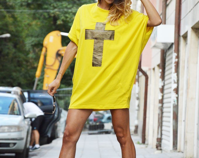 Extravagant Casual Loose Short Sleeves Tunic, Asymmetrical Maxi Yellow Cotton Top, Tunic with Cross  by SSDfashion