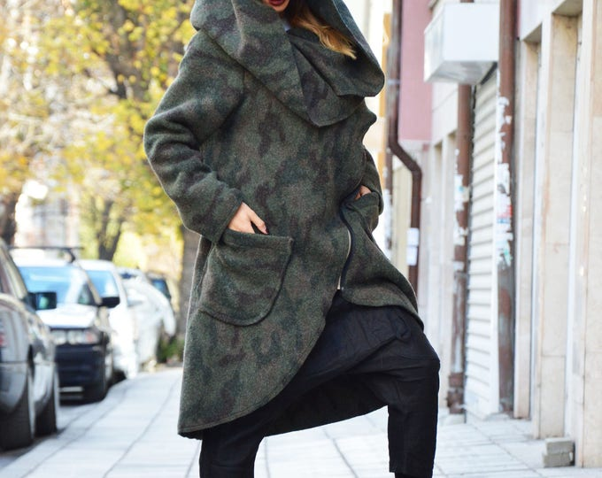 Asymmetryc Extravagant Military Warm Coat, Long Sleeves Winter Coat, Womens Zipper Cashmere Coat by SSDfashion