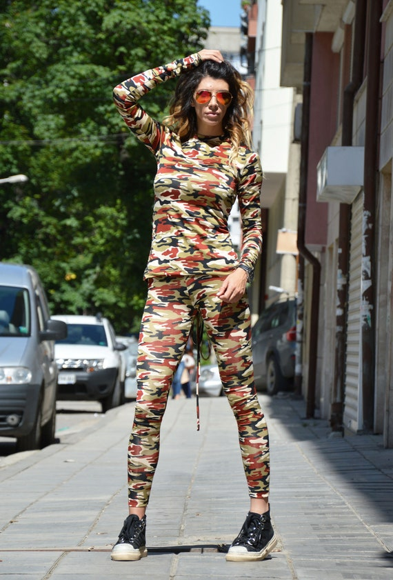 Fashion Plus Top Women's Elegant And Leggings SSDfashion Camouflage Blouse Cotton by Pants Sleeve Size Long Set Extra 6v8Rwv
