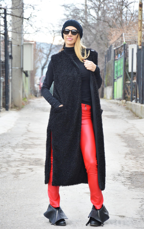 Oversize Black Women Sweater Vest Loose Winter Long Coat Maxi Plus