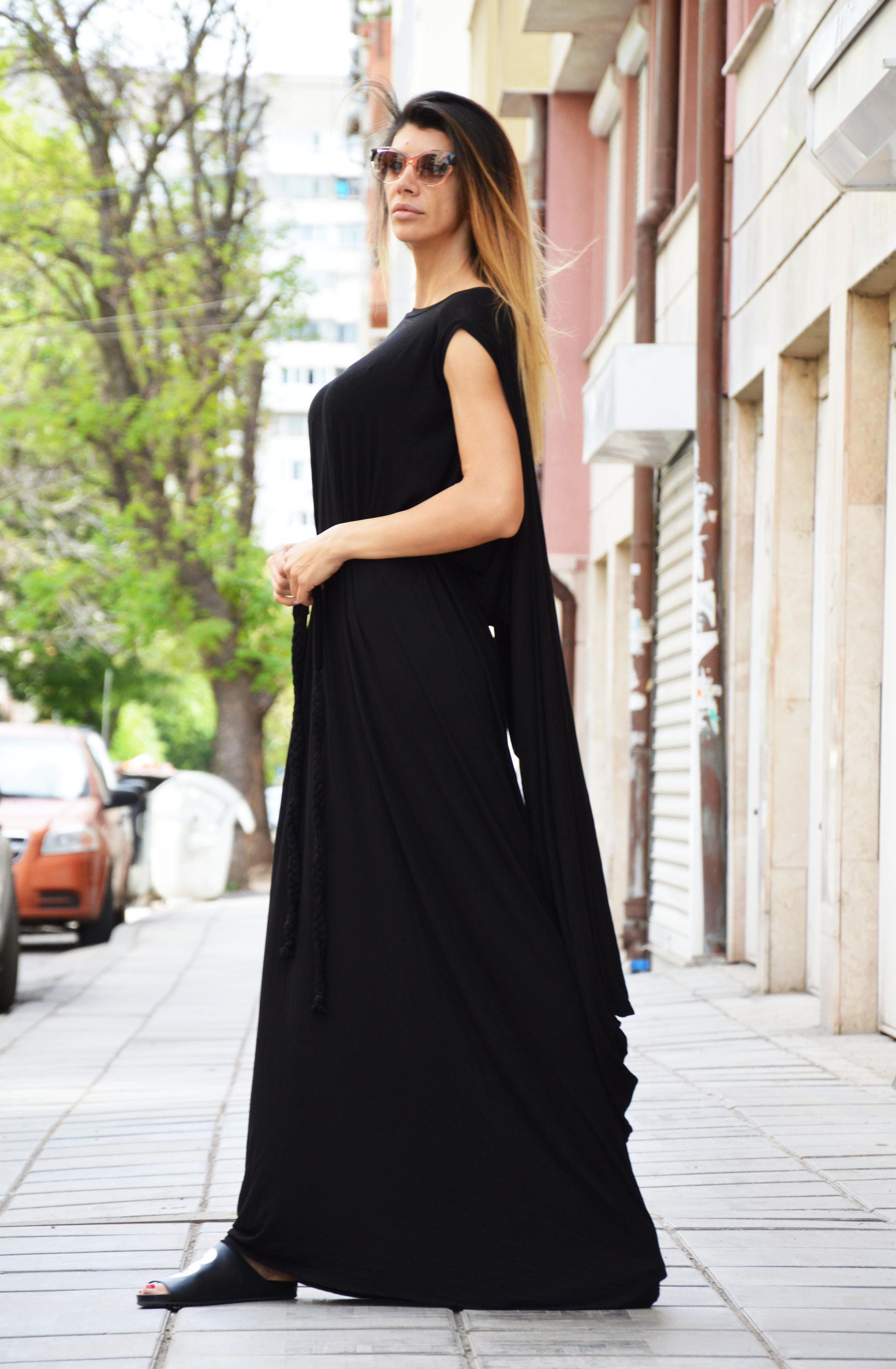 bcae150cf7cc Women maxi dress, Hooded dress, Asymmetric Tunic Top, Elegant Summer Dress, Loose  Fit Long Kaftan, Maxi Dress, Black Dress by SSDfashion