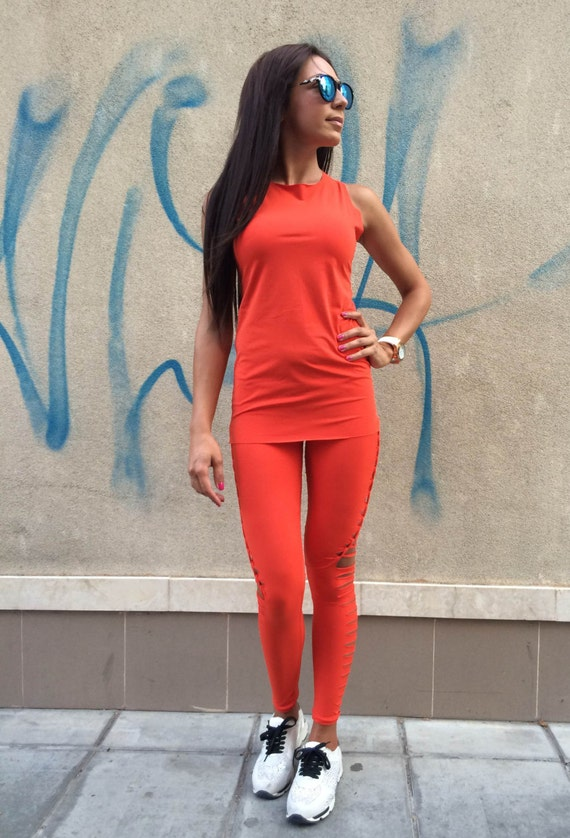 Of Tank Sport Women's Long by Top SSDfashion 2 Handmade Set Set Leggings Workout Sport Yoga Orange Parts EOSv8qOFw