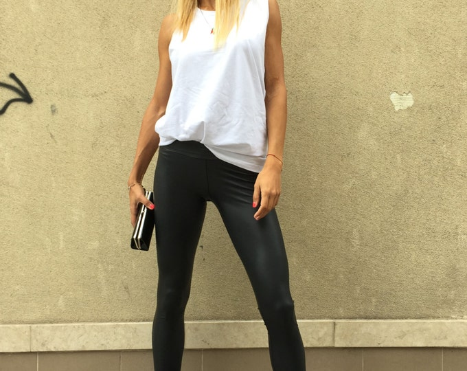 New Black Leather Legging, Elegant Long Pants, Yoga Tight-fitting Leggings, Fashion Pants, Woman's Leggings by SSDfashion