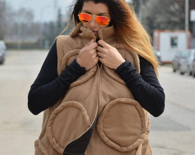 Women's Beige Cashmere Vest, Loose Sleeveless Coat, Extravagant Vest, Maxi Vest, Asymmetric Wool Coat, Winter Vest by SSDfashion