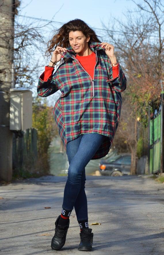 Plus Shirt Tunic Shirt Maxi Womens Wool Tunic by Zipper Shirt Loose Cotton Top SSDfashion Size Asymmetric Oversize for Shirt aAqqgwP0