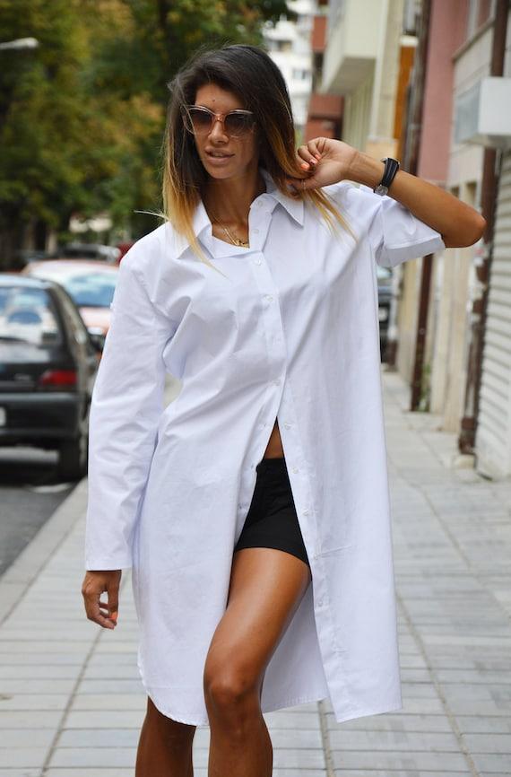 Size Cotton Oversize Long by Yellow Loose Hashtag Plus SSDfashion Tunic Dress White Tunic Shirt Maxi Shirt 8FXA8qd