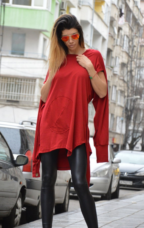 Red Maxi Evening Short Dress by Asymmetric Extravagant Tunic Loose SSDfashion And Long Casual Top Sleeves Oversize Dress Tunic X6A6wqYxB