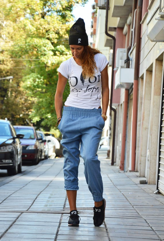 pockets Pants Crotch Denim Light Blue Trousers Over Extravagant Harem Pants Drop with SSDfashion Casual by Fold Pants TC6q7nxw