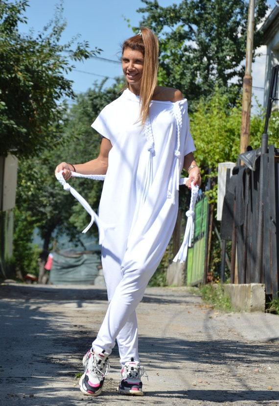 White Jumpsuit Loose SSDfashion Suit Casual Pants Summer Onepiece by Romper Women Cotton Harem Extravagant Jumpsuit rrCwp