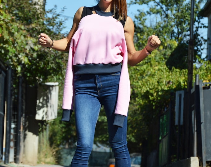 Baby Pink Sweatshirt, Extravagant Top, Soft Cotton Blouse, Loose Top, Plus Size Clothing, Short Asymmetrical Top by SSDfashion