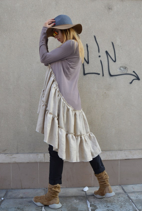 SSDfashion Dress by Linen Cotton Oversize Dress Dress Extravagant Loose Party Casual Asymmetrical f6zRPqR