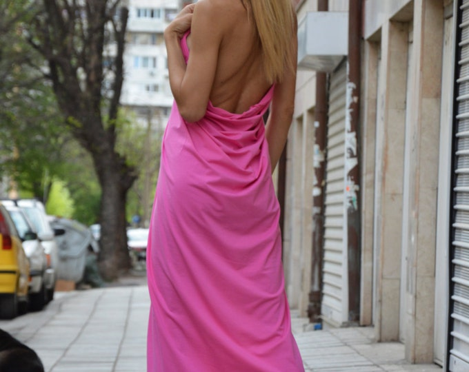 Women Backless Long Dress, Maxi Loose Dress, Viscose Sleeveless Kaftan, Open Back Tunic Dress, Party Dress by SSDfashion