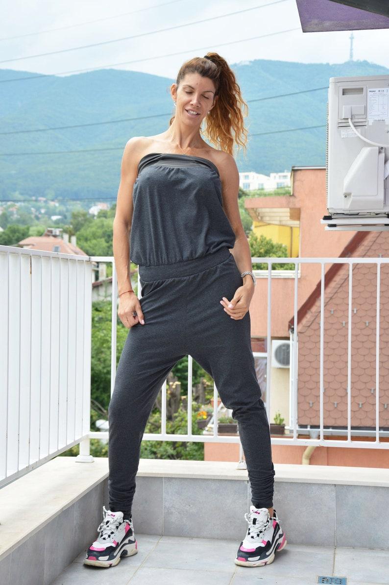 Dark Grey Cotton Jumpsuit Women Jumpsuit Extravagant Overalls Jumpsuit Women Romper by SSDfashion Drop Crotch Union Suit