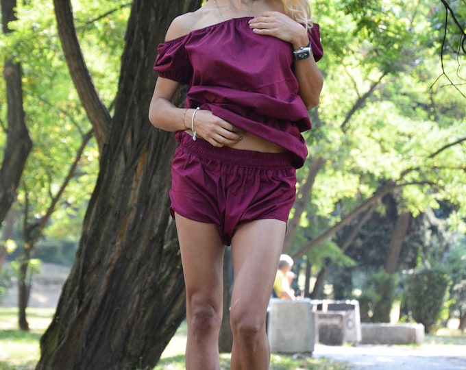 Women Shorts With Tunic, Extravagant Pants, Loose Off Shoulder Top, Elegant Burgundy Set, Maxi Blouse by SSDfashion