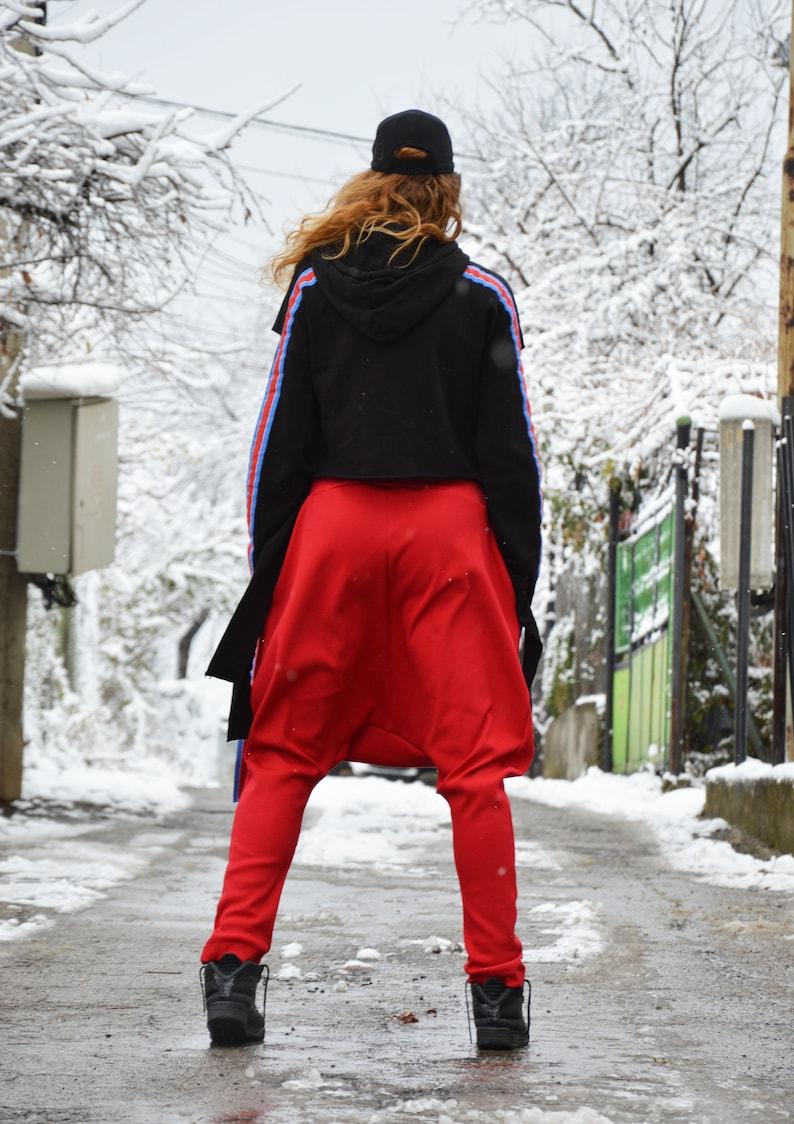 Comfortable Pants,Casual Harem Maxi Pants,Oversized Pants by SSDfashion Drop Crotch Pants Cotton Pants Extravagant Loose Bottom Red Pants