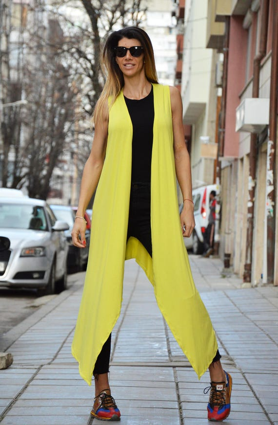 Maxi by Top Vest Sleeveless Extravagant Long Elegant SSDfashion Viscose Vest Yellow Vest Asymmetric grgwxqTt