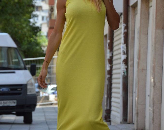 Yellow Ribbed Cotton Long Dress, Extravagant Summer Kaftan Dress, Plus Size Dress, Daywear Loose Dress by SSDfashion