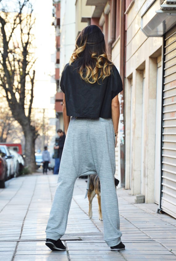 Unique Crotch Oversize Casual by Waist Pants Pants Drop Grey Elastic Harem Extravagant Knit Pants SSDfashion Grey tt7qxB