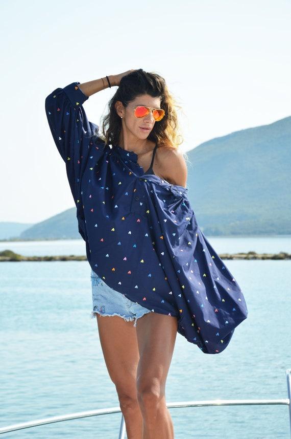 Handmade With Loose Asymmetric Maxi Top Oversize Shirt Dress by Hearts Tunic Women Shirt Blue Cotton SSDfashion xw0YYUqg4