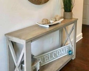 Superbe Rustic Weathered X Console Table