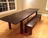Dark Walnut Farm Table wi...