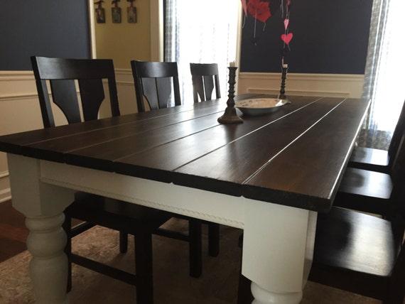 table de ferme moderne noyer fonc avec les jambes husky 5 etsy. Black Bedroom Furniture Sets. Home Design Ideas