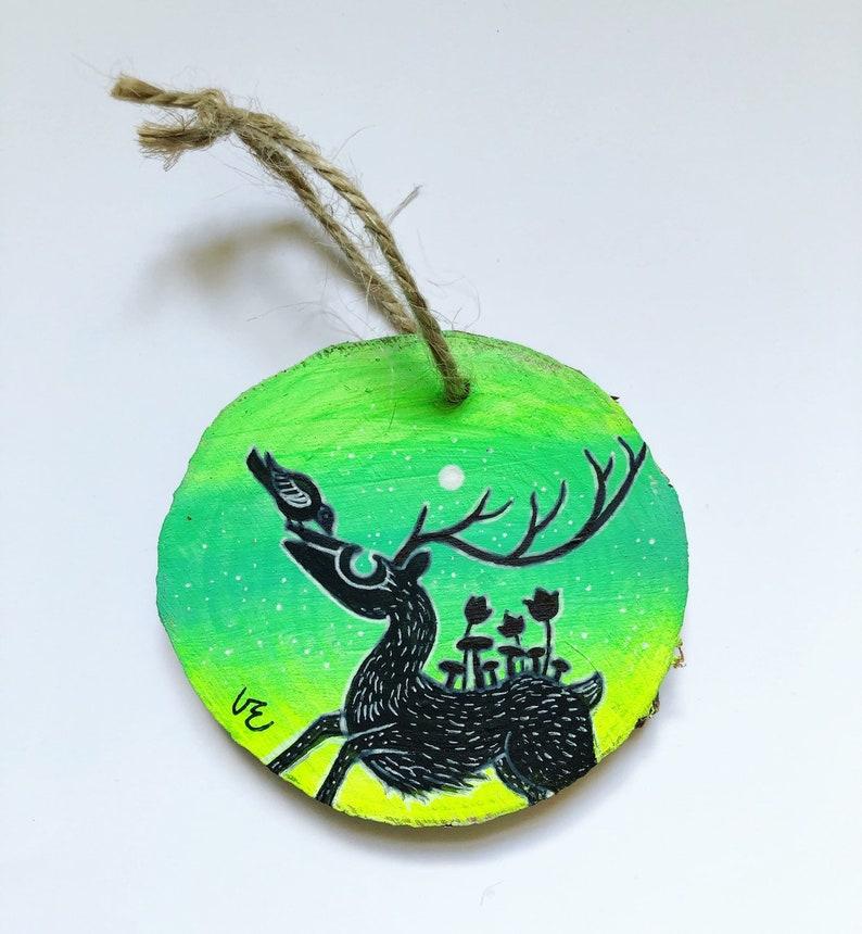 Mini Round Wood Slice Paintingornament No 2 Aurora Deer Elk Bird Friendship Colorful Nature Fantasy