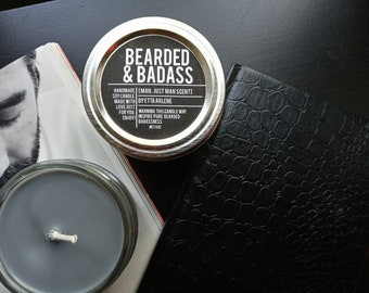 Bearded & Badass Candle, Men Scented Candles, Gift for Guys, Man Candle, Bearded and Badass candles by Etta Arlene Candles