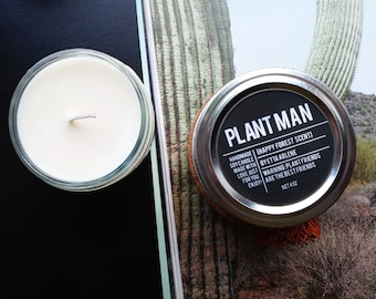Plant Man Candle, Plant Candle, Forest Scented Candle, Funny Candle, Candles, Plant Lover Gift - By Etta Arlene Candles 4oz jar