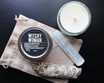 Witchy Woman candle Gift Set by Etta Arlene, Gift Ready, Energy Clearing and Smudging Kit, Candle gift set, Gift Ready