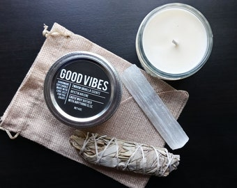 Good Vibes candle Gift Set by Etta Arlene Candle gift set, Gift Ready, Witchy Gifts