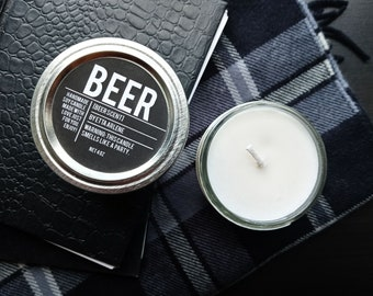 Beer Candle, Beer Scented Candles, Beer Lover Gift - Gift for Beer Lovers - 21st Birthday Gift- By Etta Arlene Candles 4oz jar