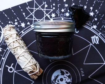 Obsidian Crystal and Sage Gift Set by Etta Arlene, Energy Clearing and Protection Smudging Kit, Candle gift set