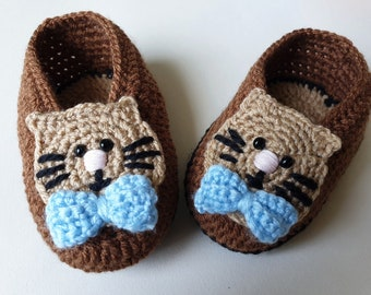 Knitted gray mouse baby shoes with bow Home pointy slippers Home shoes Unisex knit booties 3-6 6-9 9-12 12-18months