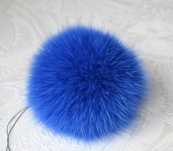 New Blue Leopard Print Beanie Navy Blue Fox Fur Pom Pom One Size Fits All