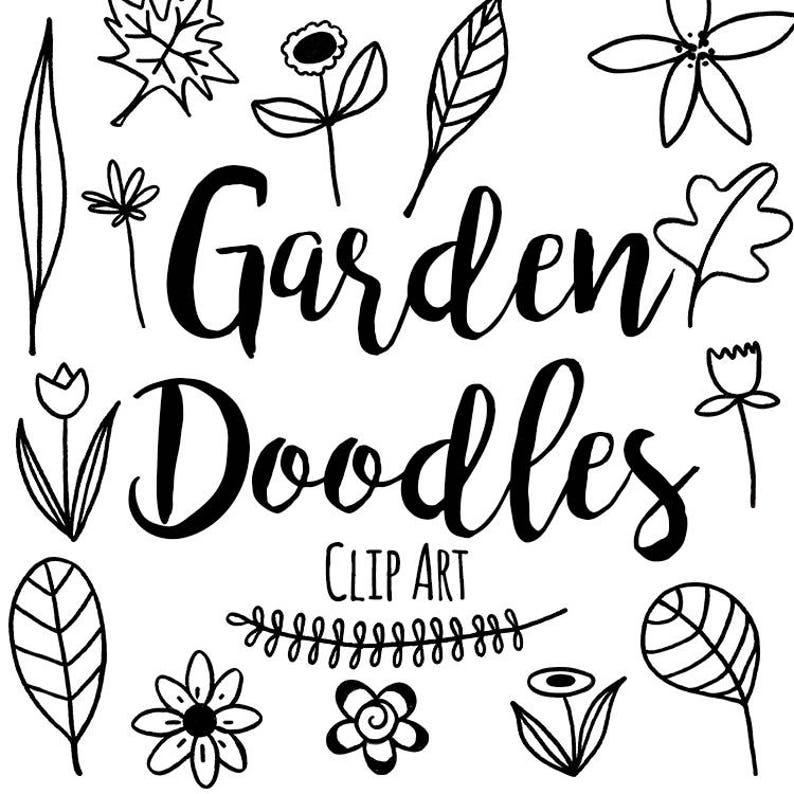 Pen And Ink Doodle Garden Clip Art Custom Invitations Clip