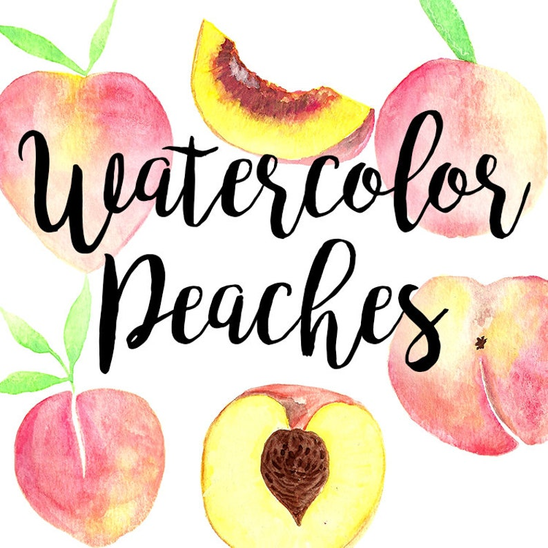 Pretty Peaches Fruit Watercolor Clipart and Patterns PNG and High-Res JPEG