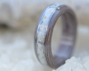 Stone wedding band. Wood stone ring. Wooden Ring With Stone Inlay. Wedding And Engagement Ring. For Men And Women. Custom Made.