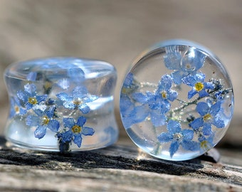 Forget me not blue flower plug earrings resin ear plugs wedding plugs pressed flower wedding gauges ear tunnel terrarium Forget me not plugs