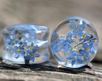 flower plugs wooden gauges wood plug floral gauges flower plugs white flower tunnels unique ear plugs 2g 0g 00g 12 916 58 1116 1316