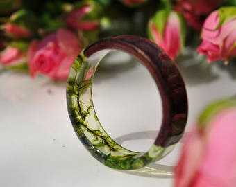 resin moss rings Womens wood ring Forest jewelry nature lover gift men moss terrarium natural moss botanical jewelry rings for women rings