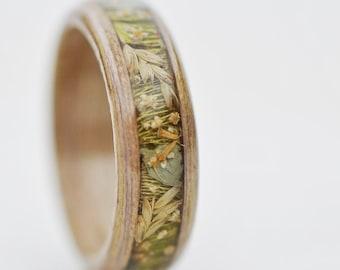 Wood nature wedding rings, Engagement flower ring, Light women wooden ring, Women wood ring, Bentwood women ring, Wooden gift, Forest