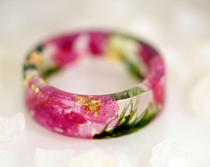 Natural pressed flower jewelry set ring and round earrings Mother/'s day special gifts Terrarium resin ring Dried flowers eco gift nature