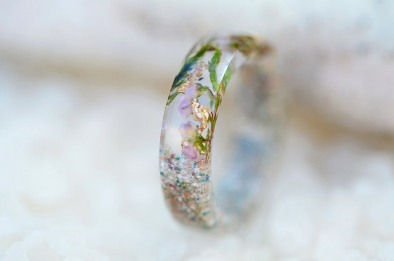 REAL Heather Flower resin Pink ring Stone ring women. stone ring for woman Pressed flower ring