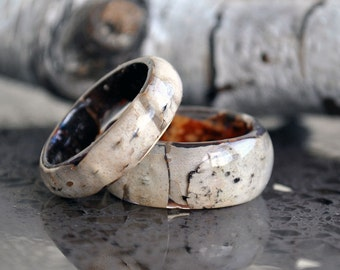 Engagement ring Resin Rings Birch wood rings Natural Wooden ring Unique Wedding Ring Floral Wedding Ring Wooden Ring Mens Jewelry rings band