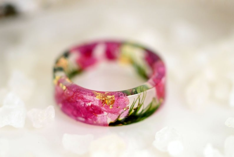nature rings nature inspired rings resin ring flower resin image 0