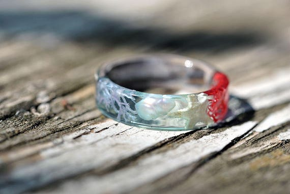 Blue Statement Resin Ring Blue Mermaid Ring Mermaid Gift Jewelry Bohemian Ring Nacre Ring Ocean Ring Summer Sea Ring Starfish Ring